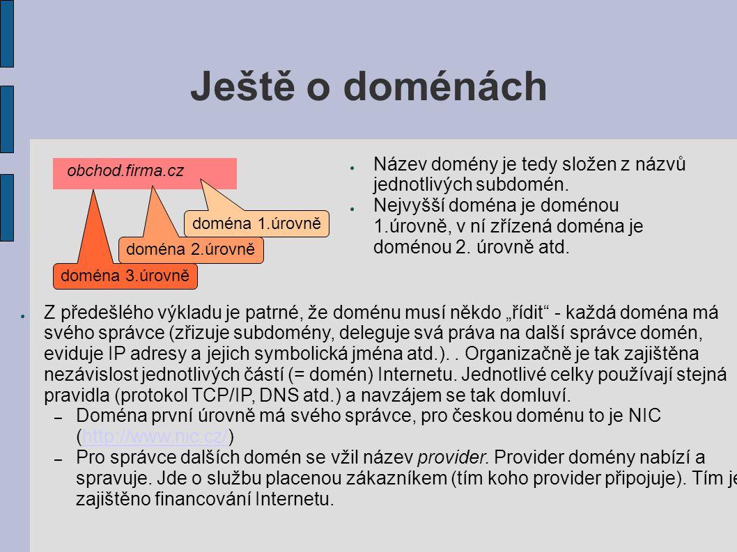 Ještě o doménách ● Název domény je tedy složen z názvů jednotlivých subdomén.