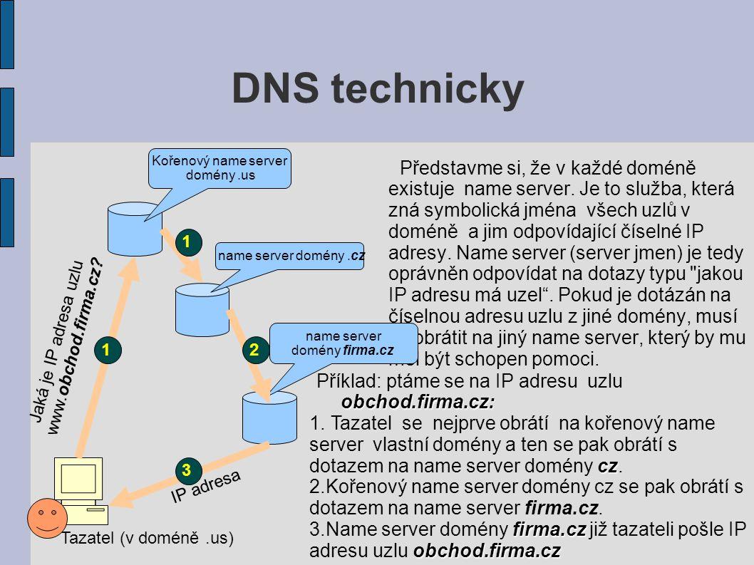 DNS technicky Představme si, že v každé doméně existuje name server.