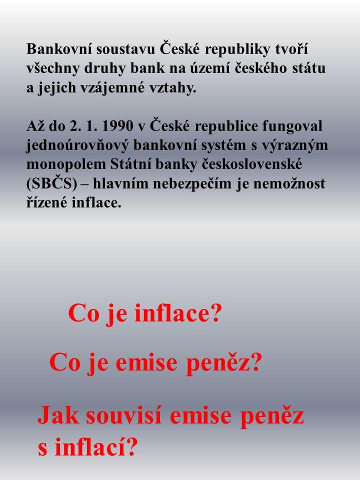 Nyní je bankovní soustava v ČR dvouúrovňová: 2.Obchodní banky 1.