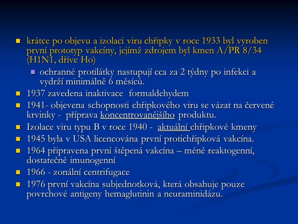 krátce po objevu a izolaci viru chřipky v roce 1933 byl vyroben první prototyp vakcíny, jejímž zdrojem byl kmen A/PR 8/34 (H1N1, dříve Ho) krátce po o