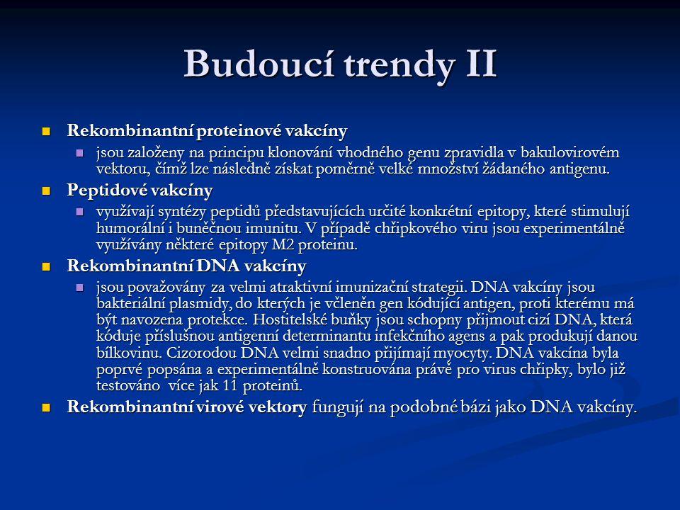 Budoucí trendy II Rekombinantní proteinové vakcíny Rekombinantní proteinové vakcíny jsou založeny na principu klonování vhodného genu zpravidla v baku