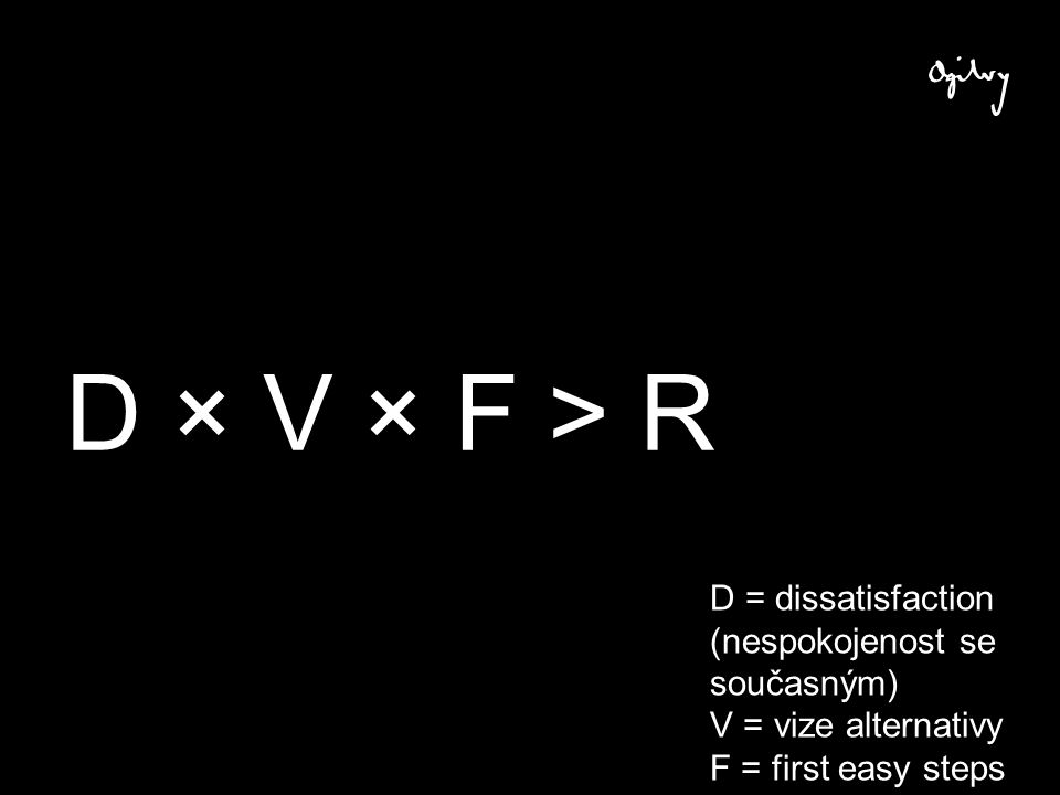 D × V × F > R D = dissatisfaction (nespokojenost se současným) V = vize alternativy F = first easy steps