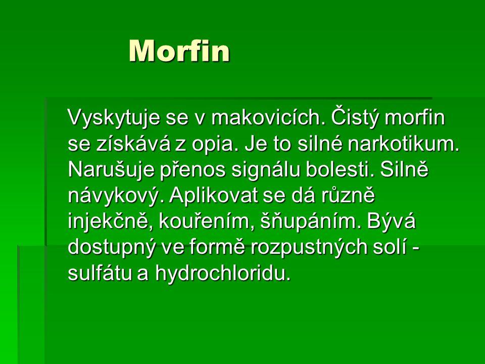 Morfin Morfin Vyskytuje se v makovicích.Čistý morfin se získává z opia.