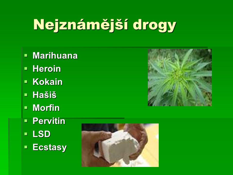 Nejznámější drogy Nejznámější drogy  Marihuana  Heroin  Kokain  Hašiš  Morfin  Pervitin  LSD  Ecstasy