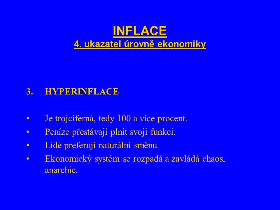 INFLACE 4. ukazatel úrovně ekonomiky 3.HYPERINFLACE Je trojciferná, tedy 100 a více procent.
