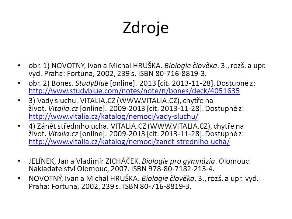Zdroje obr. 1) NOVOTNÝ, Ivan a Michal HRUŠKA. Biologie člověka. 3., rozš. a upr. vyd. Praha: Fortuna, 2002, 239 s. ISBN 80-716-8819-3. obr. 2) Bones.