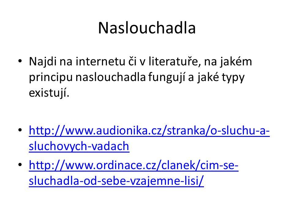 Naslouchadla Najdi na internetu či v literatuře, na jakém principu naslouchadla fungují a jaké typy existují. http://www.audionika.cz/stranka/o-sluchu