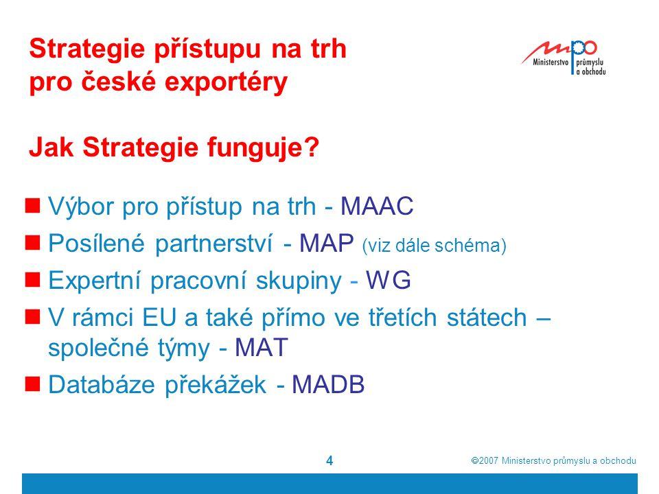  2007  Ministerstvo průmyslu a obchodu 4 Strategie přístupu na trh pro české exportéry Jak Strategie funguje.