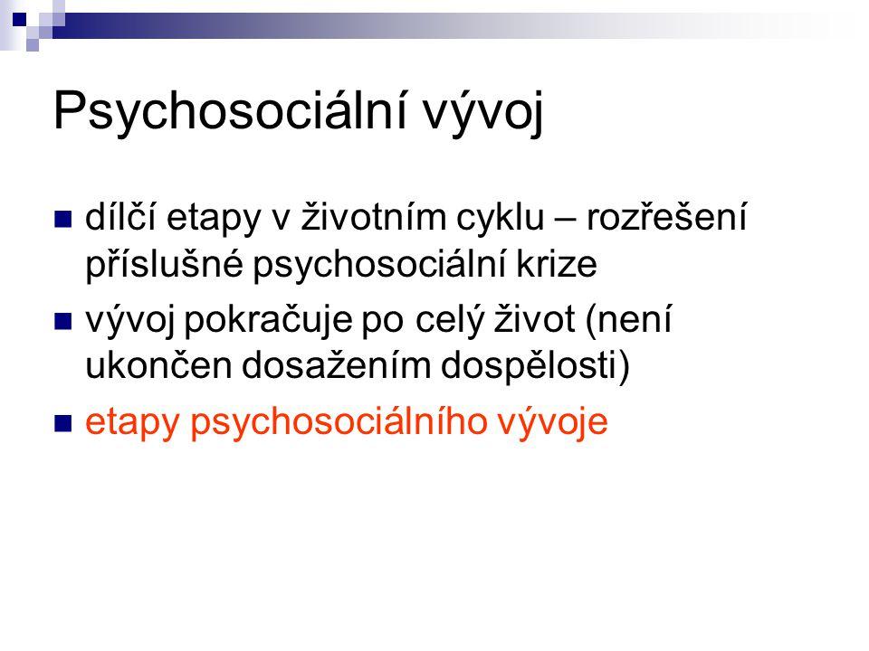 Psychosociální vývoj dílčí etapy v životním cyklu – rozřešení příslušné psychosociální krize vývoj pokračuje po celý život (není ukončen dosažením dospělosti) etapy psychosociálního vývoje