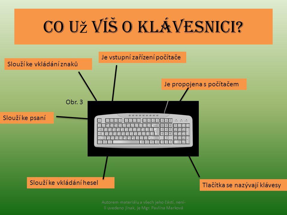 Co u ž víš o klávesnici? Slouží ke vkládání znaků Je vstupní zařízení počítače Slouží ke psaní Je propojena s počítačem Slouží ke vkládání hesel Tlačí