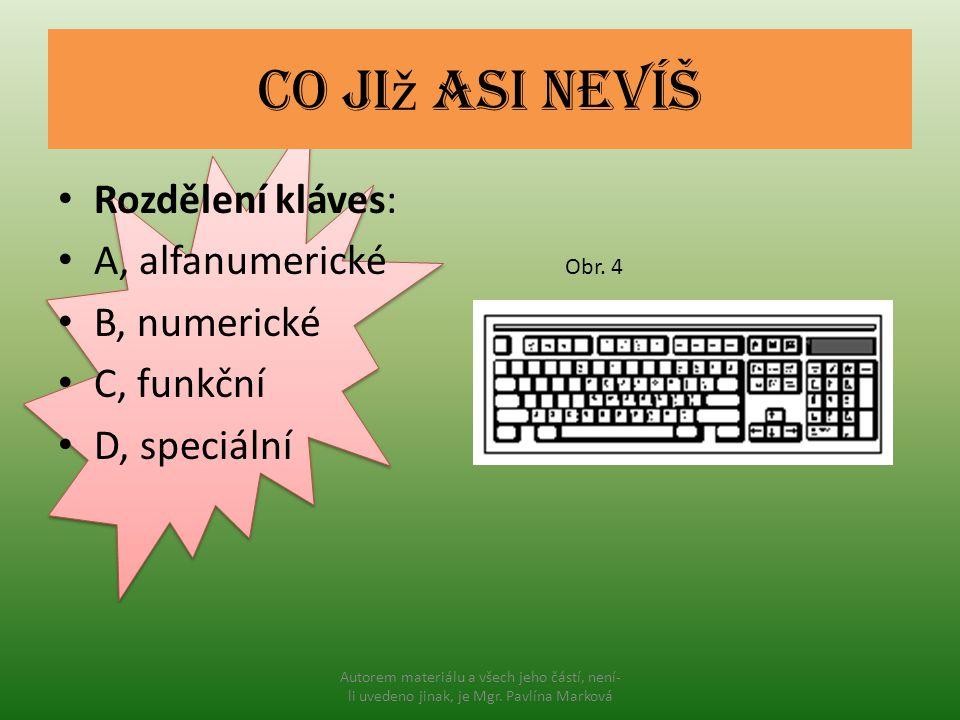 Co ji ž asi nevíš Rozdělení kláves: A, alfanumerické B, numerické C, funkční D, speciální Obr. 4 Autorem materiálu a všech jeho částí, není- li uveden