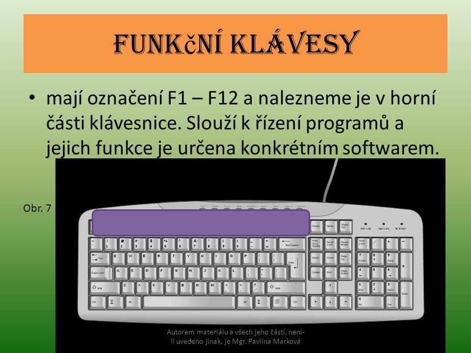 Funk č ní klávesy mají označení F1 – F12 a nalezneme je v horní části klávesnice. Slouží k řízení programů a jejich funkce je určena konkrétním softwa