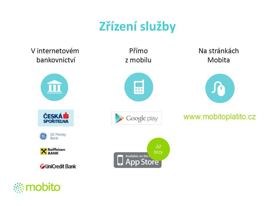 Zřízení služby www.mobitoplatito.cz V internetovém bankovnictví Přímo z mobilu Na stránkách Mobita Již brzy