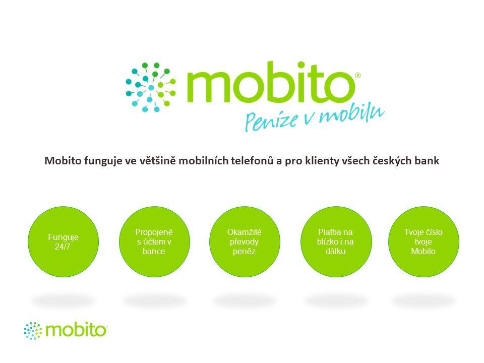 Mobito funguje ve většině mobilních telefonů a pro klienty všech českých bank Funguje 24/7 Propojené s účtem v bance Okamžité převody peněz Platba na blízko i na dálku Tvoje číslo tvoje Mobito