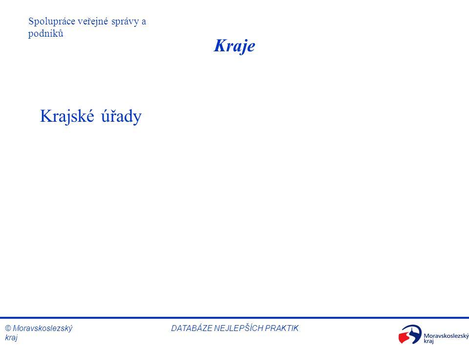 © Moravskoslezský kraj Spolupráce veřejné správy a podniků DATABÁZE NEJLEPŠÍCH PRAKTIK Kraje Krajské úřady