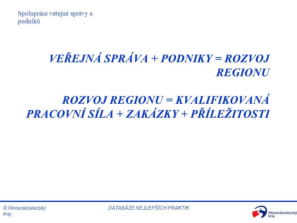 © Moravskoslezský kraj Spolupráce veřejné správy a podniků DATABÁZE NEJLEPŠÍCH PRAKTIK VEŘEJNÁ SPRÁVA + PODNIKY = ROZVOJ REGIONU ROZVOJ REGIONU = KVAL