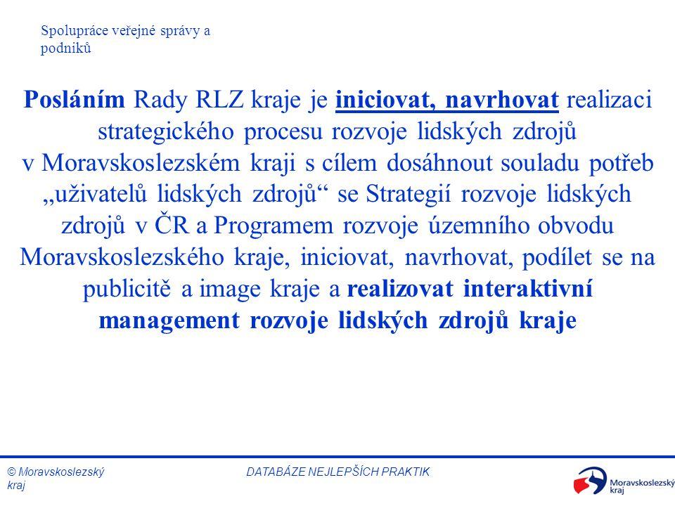 © Moravskoslezský kraj Spolupráce veřejné správy a podniků DATABÁZE NEJLEPŠÍCH PRAKTIK Posláním Rady RLZ kraje je iniciovat, navrhovat realizaci strat
