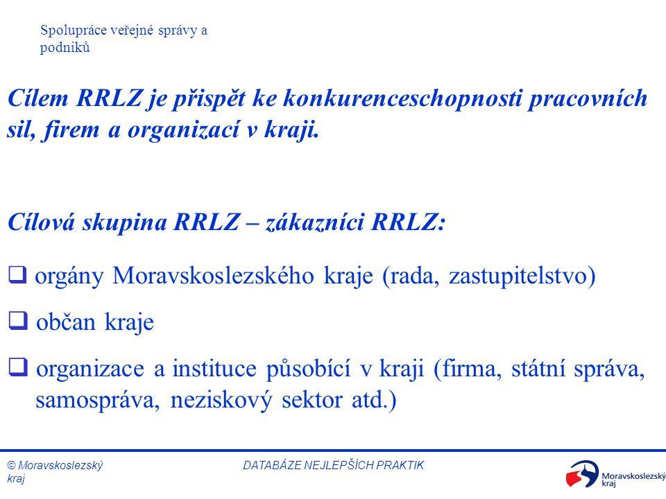 © Moravskoslezský kraj Spolupráce veřejné správy a podniků DATABÁZE NEJLEPŠÍCH PRAKTIK Cílem RRLZ je přispět ke konkurenceschopnosti pracovních sil, firem a organizací v kraji.