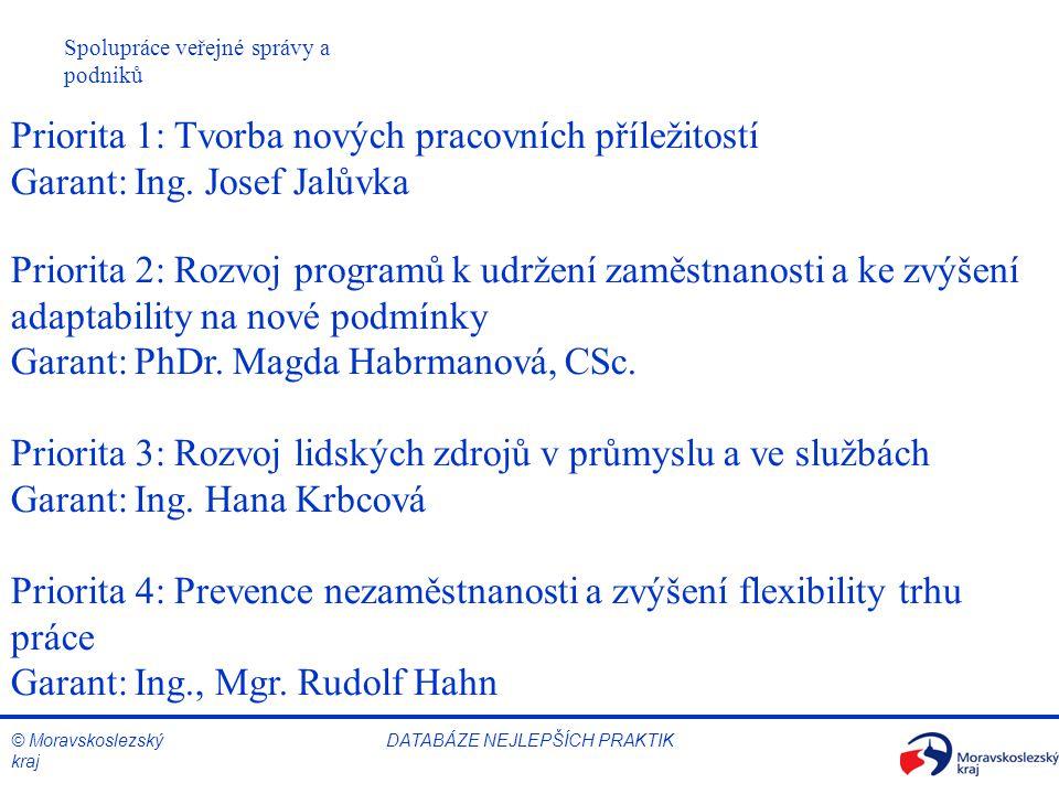 © Moravskoslezský kraj Spolupráce veřejné správy a podniků DATABÁZE NEJLEPŠÍCH PRAKTIK Priorita 1: Tvorba nových pracovních příležitostí Garant: Ing.