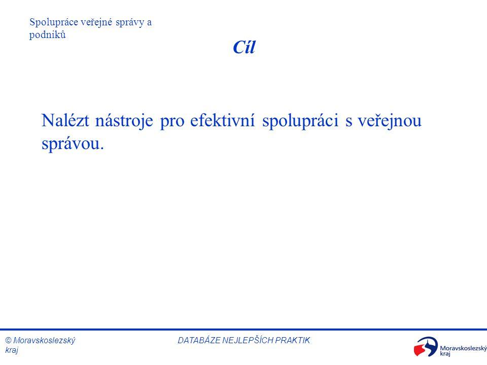 © Moravskoslezský kraj Spolupráce veřejné správy a podniků DATABÁZE NEJLEPŠÍCH PRAKTIK Cíl Nalézt nástroje pro efektivní spolupráci s veřejnou správou
