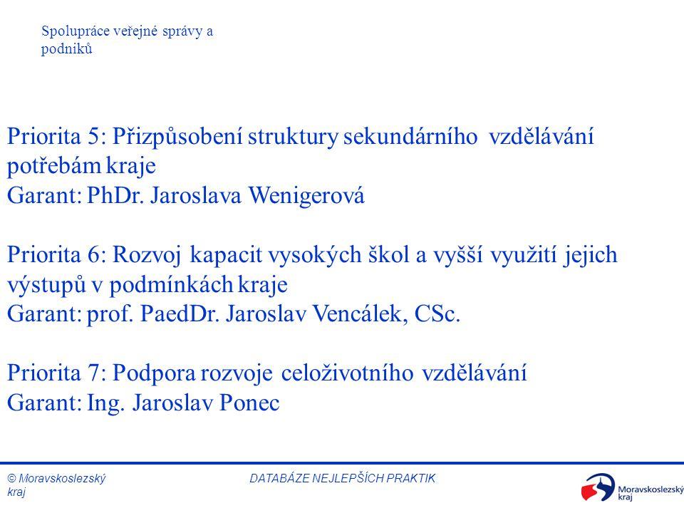 © Moravskoslezský kraj Spolupráce veřejné správy a podniků DATABÁZE NEJLEPŠÍCH PRAKTIK Priorita 5: Přizpůsobení struktury sekundárního vzdělávání potřebám kraje Garant: PhDr.
