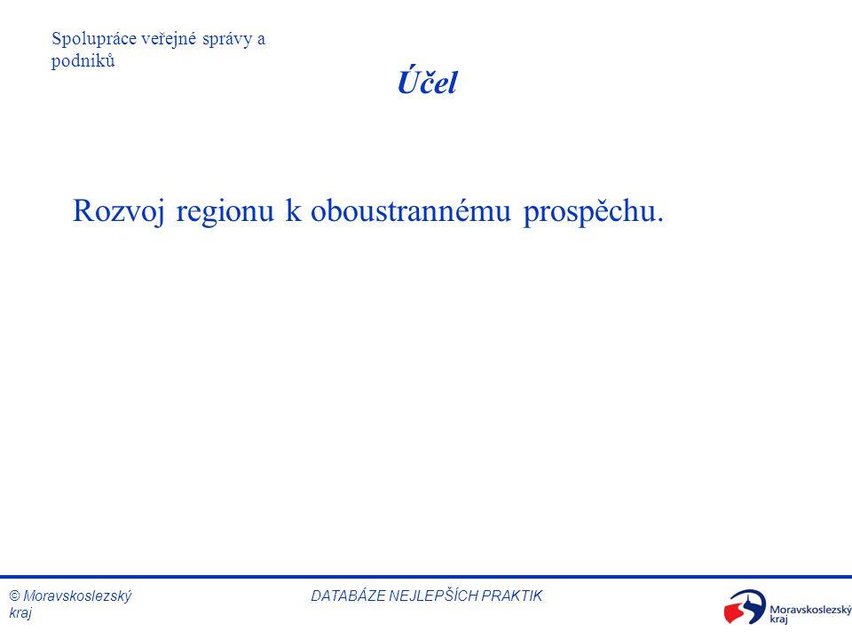 © Moravskoslezský kraj Spolupráce veřejné správy a podniků DATABÁZE NEJLEPŠÍCH PRAKTIK Účel Rozvoj regionu k oboustrannému prospěchu.