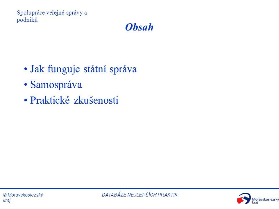© Moravskoslezský kraj Spolupráce veřejné správy a podniků DATABÁZE NEJLEPŠÍCH PRAKTIK Obsah Jak funguje státní správa Samospráva Praktické zkušenosti