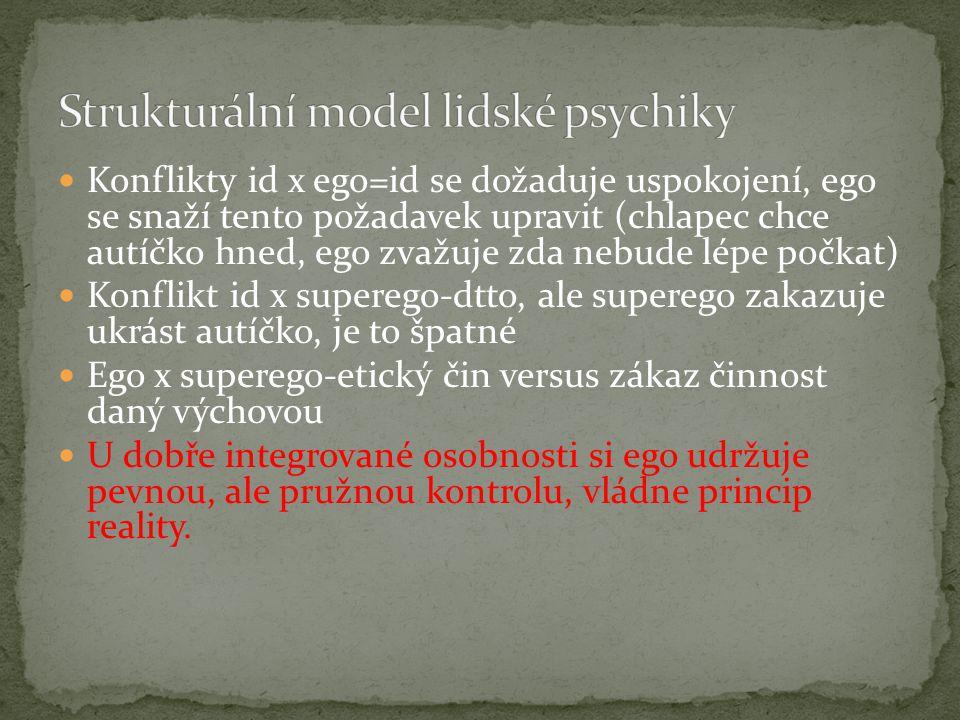 Konflikty id x ego=id se dožaduje uspokojení, ego se snaží tento požadavek upravit (chlapec chce autíčko hned, ego zvažuje zda nebude lépe počkat) Konflikt id x superego-dtto, ale superego zakazuje ukrást autíčko, je to špatné Ego x superego-etický čin versus zákaz činnost daný výchovou U dobře integrované osobnosti si ego udržuje pevnou, ale pružnou kontrolu, vládne princip reality.