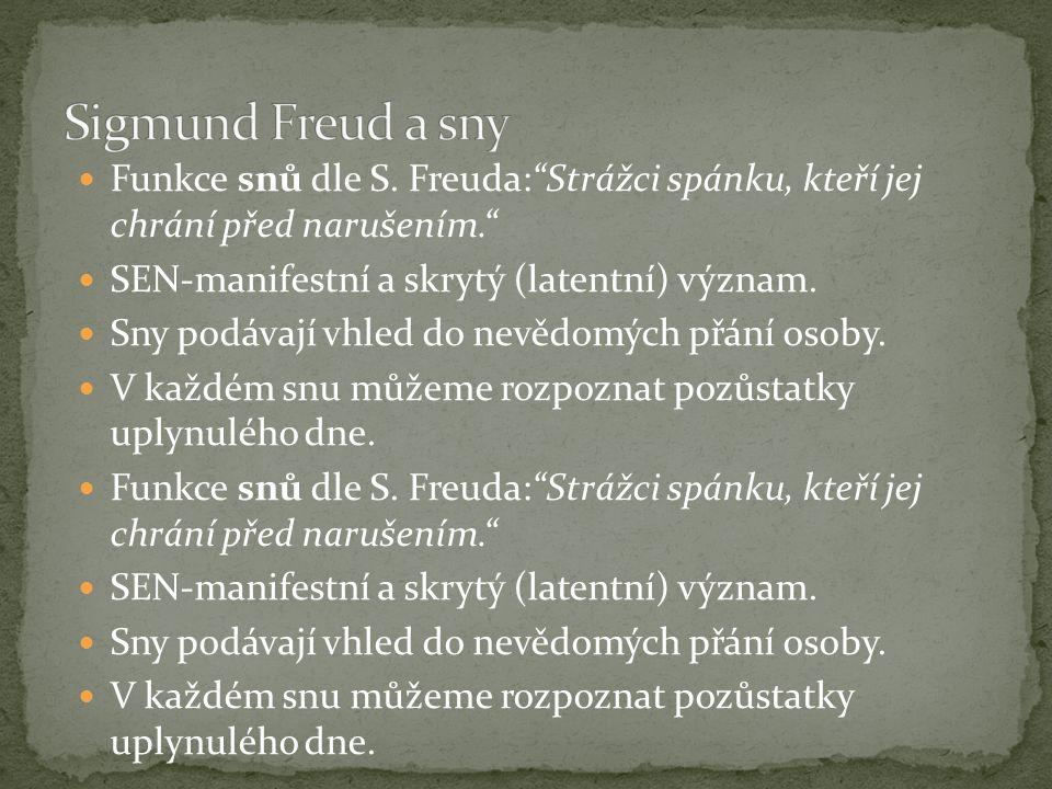 """Funkce snů dle S. Freuda:""""Strážci spánku, kteří jej chrání před narušením."""" SEN-manifestní a skrytý (latentní) význam. Sny podávají vhled do nevědomýc"""