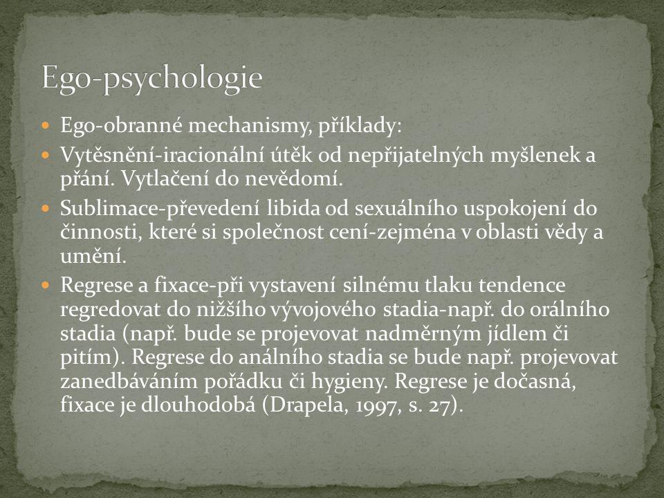Ego-obranné mechanismy, příklady: Vytěsnění-iracionální útěk od nepřijatelných myšlenek a přání. Vytlačení do nevědomí. Sublimace-převedení libida od