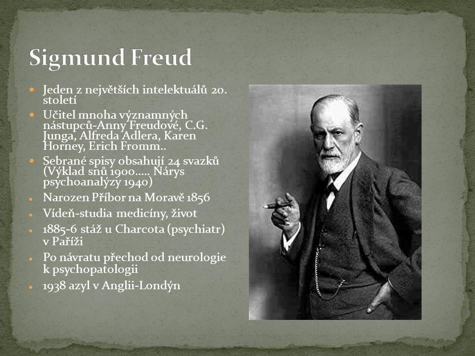 Jeden z největších intelektuálů 20. století Učitel mnoha významných nástupců-Anny Freudové, C.G. Junga, Alfreda Adlera, Karen Horney, Erich Fromm.. Se