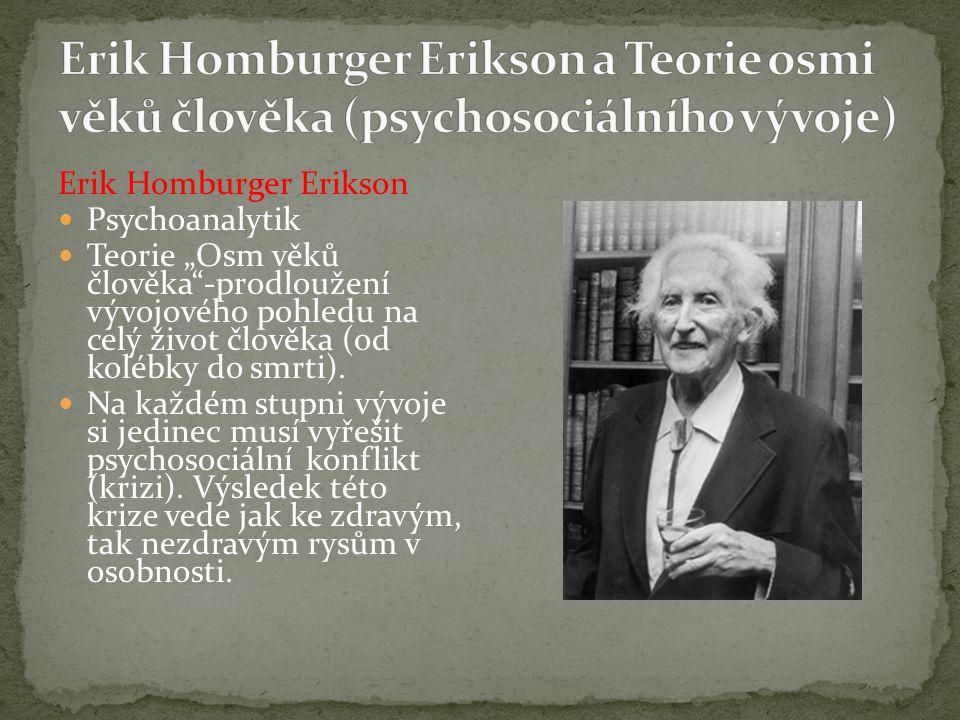 """Erik Homburger Erikson Psychoanalytik Teorie """"Osm věků člověka""""-prodloužení vývojového pohledu na celý život člověka (od kolébky do smrti). Na každém"""