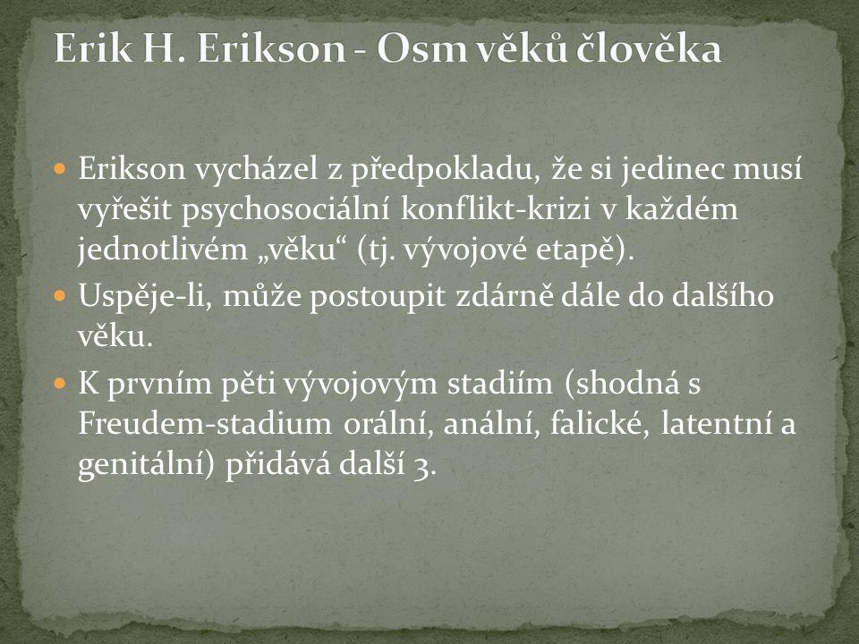"""Erikson vycházel z předpokladu, že si jedinec musí vyřešit psychosociální konflikt-krizi v každém jednotlivém """"věku"""" (tj. vývojové etapě). Uspěje-li,"""