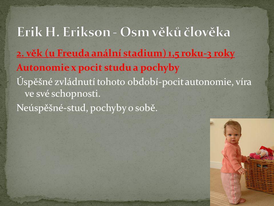 2. věk (u Freuda anální stadium) 1,5 roku-3 roky Autonomie x pocit studu a pochyby Úspěšné zvládnutí tohoto období-pocit autonomie, víra ve své schopn