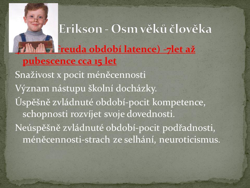 4. věk (u Freuda období latence) -7let až pubescence cca 15 let Snaživost x pocit méněcennosti Význam nástupu školní docházky. Úspěšně zvládnuté obdob