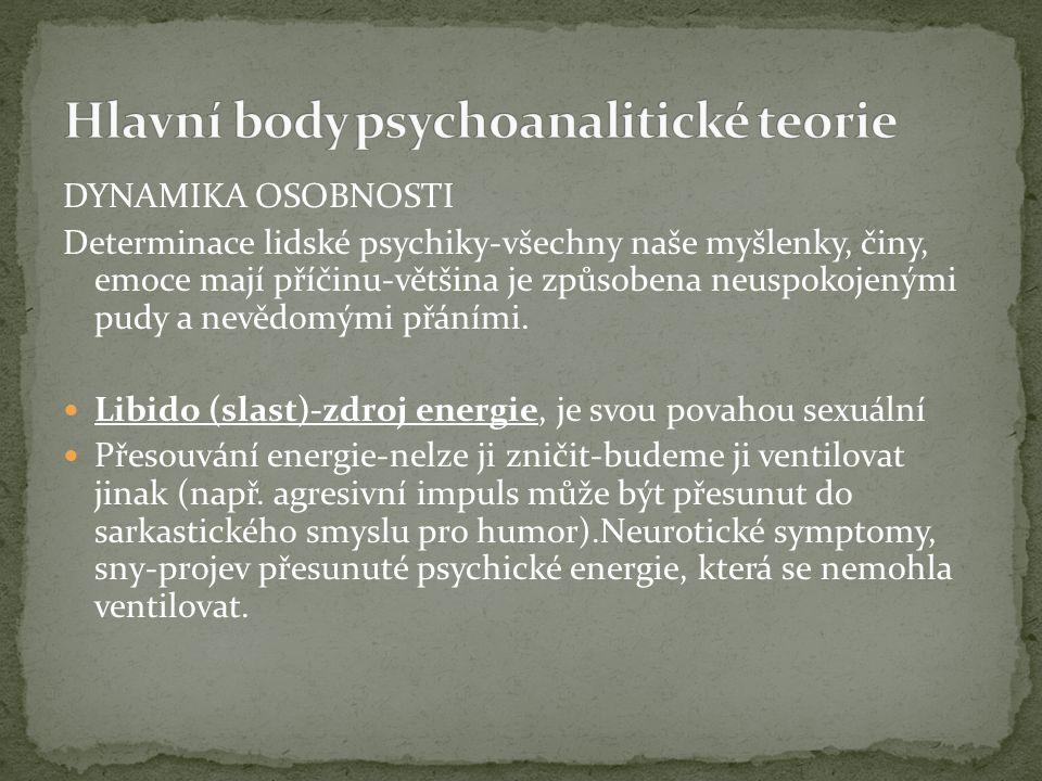 DYNAMIKA OSOBNOSTI Determinace lidské psychiky-všechny naše myšlenky, činy, emoce mají příčinu-většina je způsobena neuspokojenými pudy a nevědomými přáními.