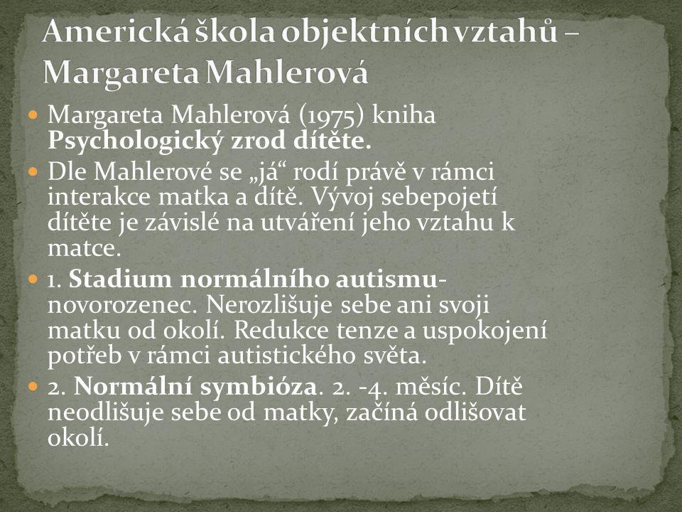 """Margareta Mahlerová (1975) kniha Psychologický zrod dítěte. Dle Mahlerové se """"já"""" rodí právě v rámci interakce matka a dítě. Vývoj sebepojetí dítěte j"""