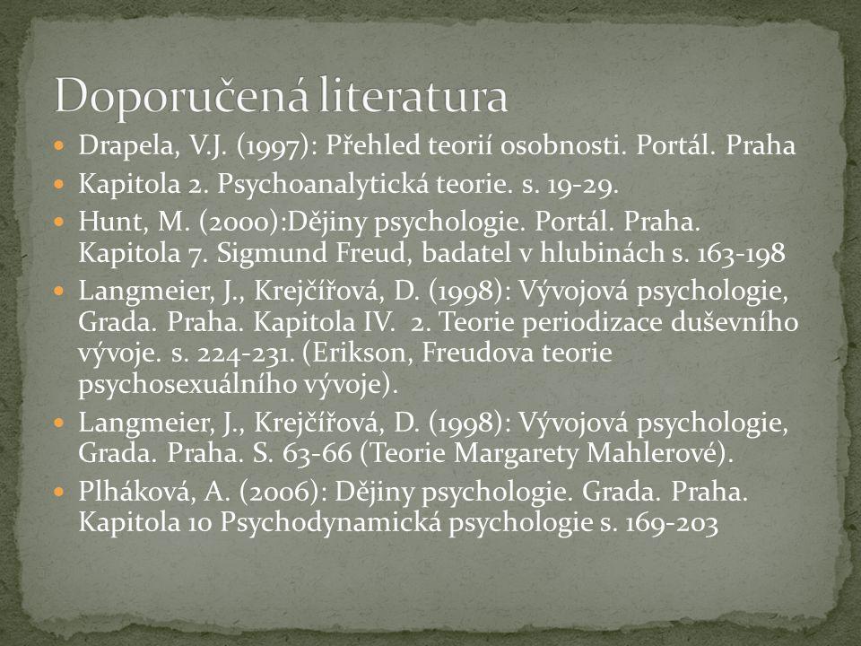 Drapela, V.J. (1997): Přehled teorií osobnosti. Portál. Praha Kapitola 2. Psychoanalytická teorie. s. 19-29. Hunt, M. (2000):Dějiny psychologie. Portá