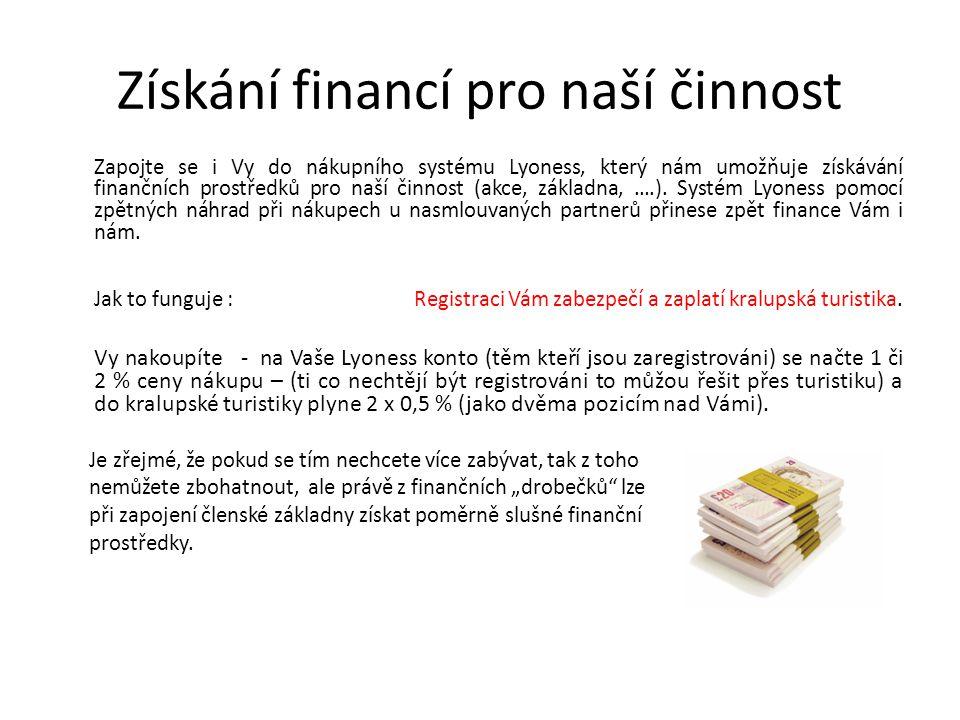 Získání financí pro naší činnost Zapojte se i Vy do nákupního systému Lyoness, který nám umožňuje získávání finančních prostředků pro naší činnost (akce, základna, ….).