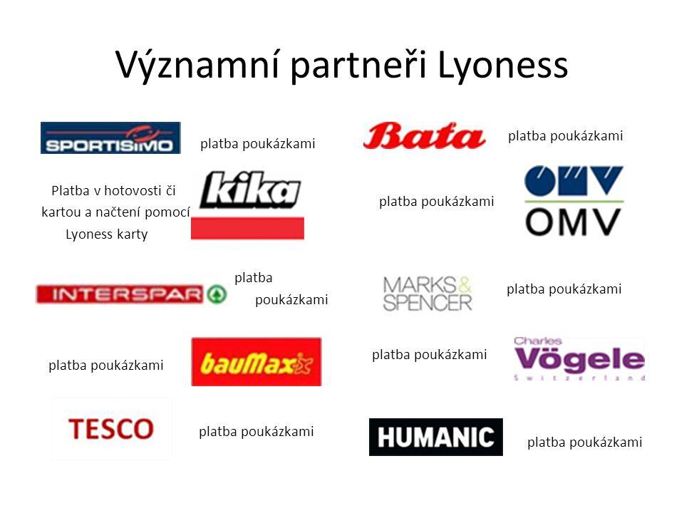 Významní partneři Lyoness platba poukázkami Platba v hotovosti či kartou a načtení pomocí Lyoness karty platba poukázkami platba poukázkami platba poukázkami