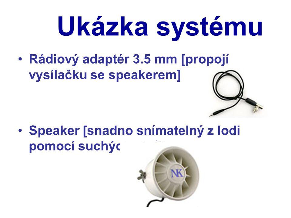Ukázka systému Rádiový adaptér 3.5 mm [propojí vysílačku se speakerem] Speaker [snadno snímatelný z lodi pomocí suchých zipů]