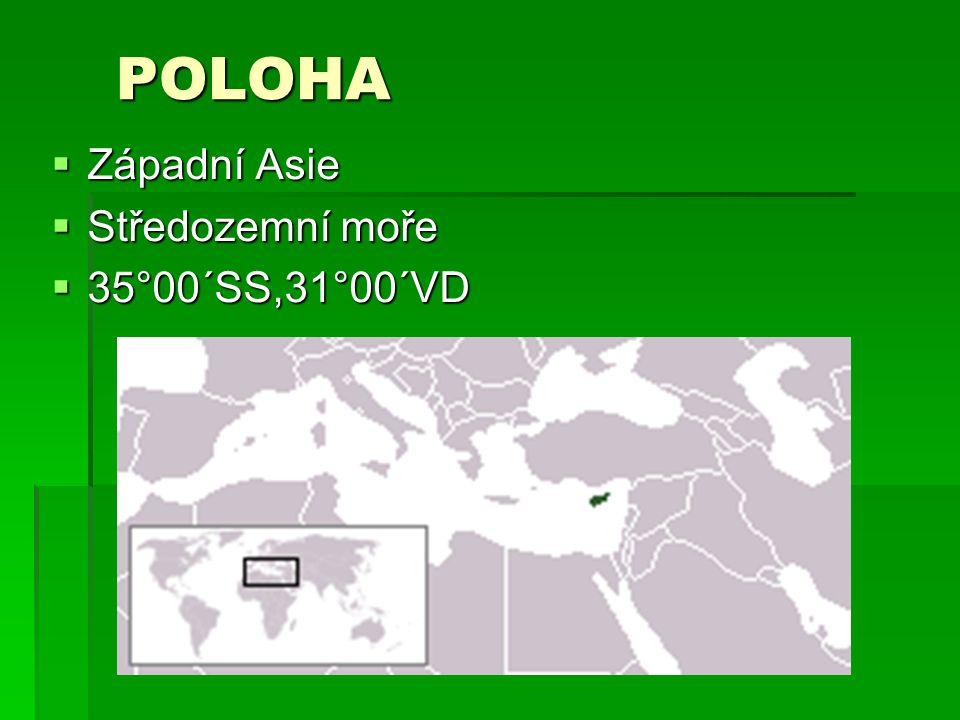 POLOHA ZZZZápadní Asie SSSStředozemní moře 33335°00´SS,31°00´VD