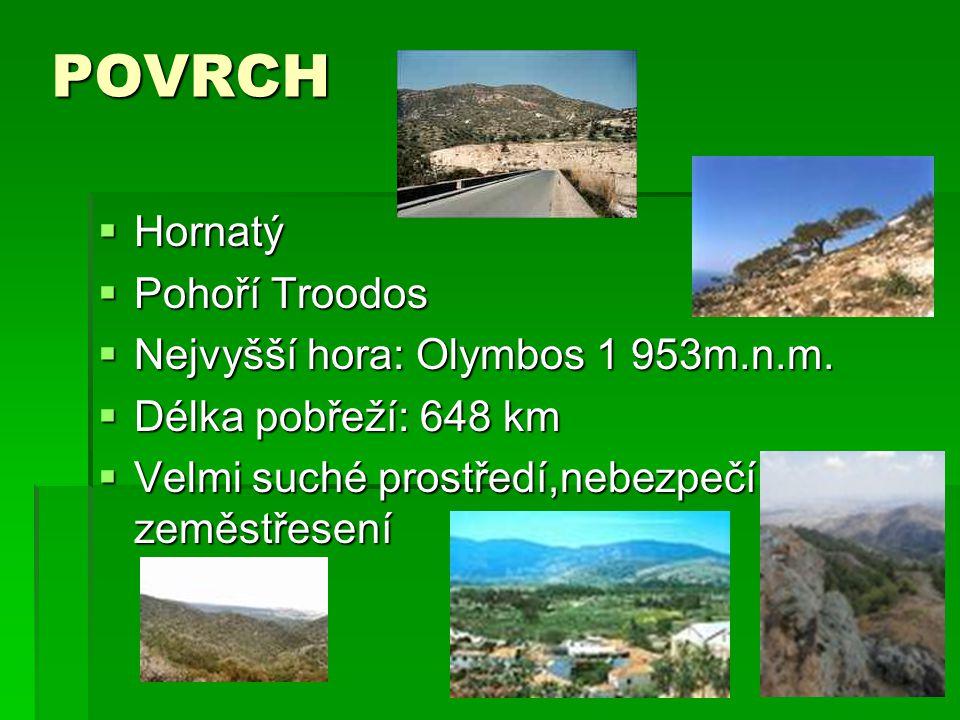 POVRCH  Hornatý  Pohoří Troodos  Nejvyšší hora: Olymbos 1 953m.n.m.