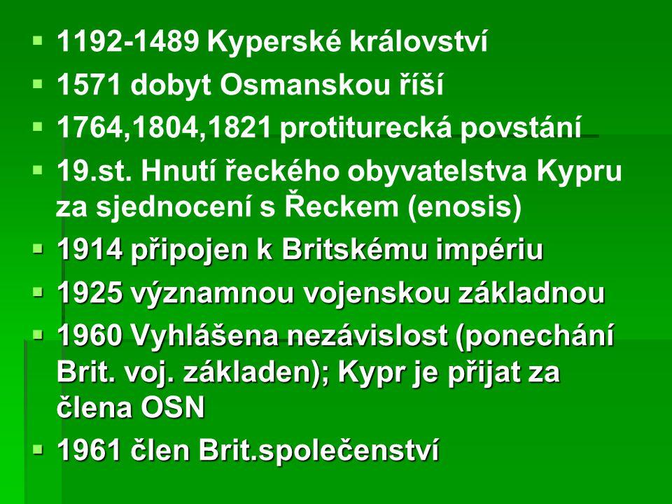   1192-1489 Kyperské království   1571 dobyt Osmanskou říší   1764,1804,1821 protiturecká povstání   19.st.