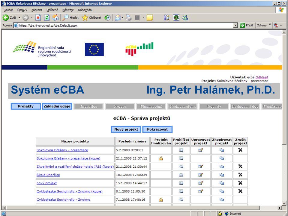 Systém eCBA Ing. Petr Halámek, Ph.D.