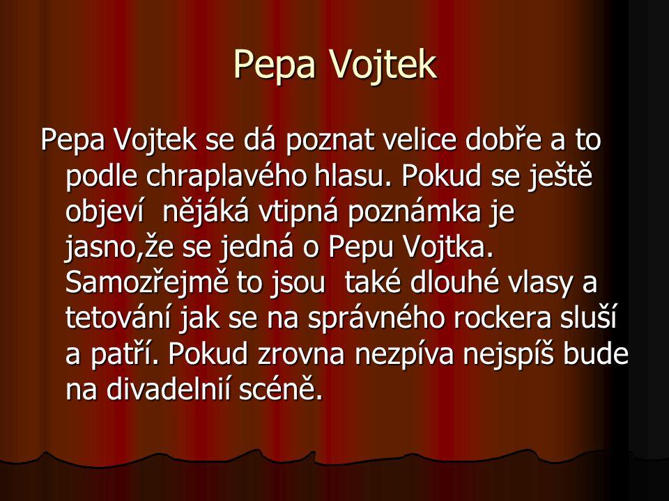 Pepa Vojtek Pepa Vojtek se dá poznat velice dobře a to podle chraplavého hlasu.