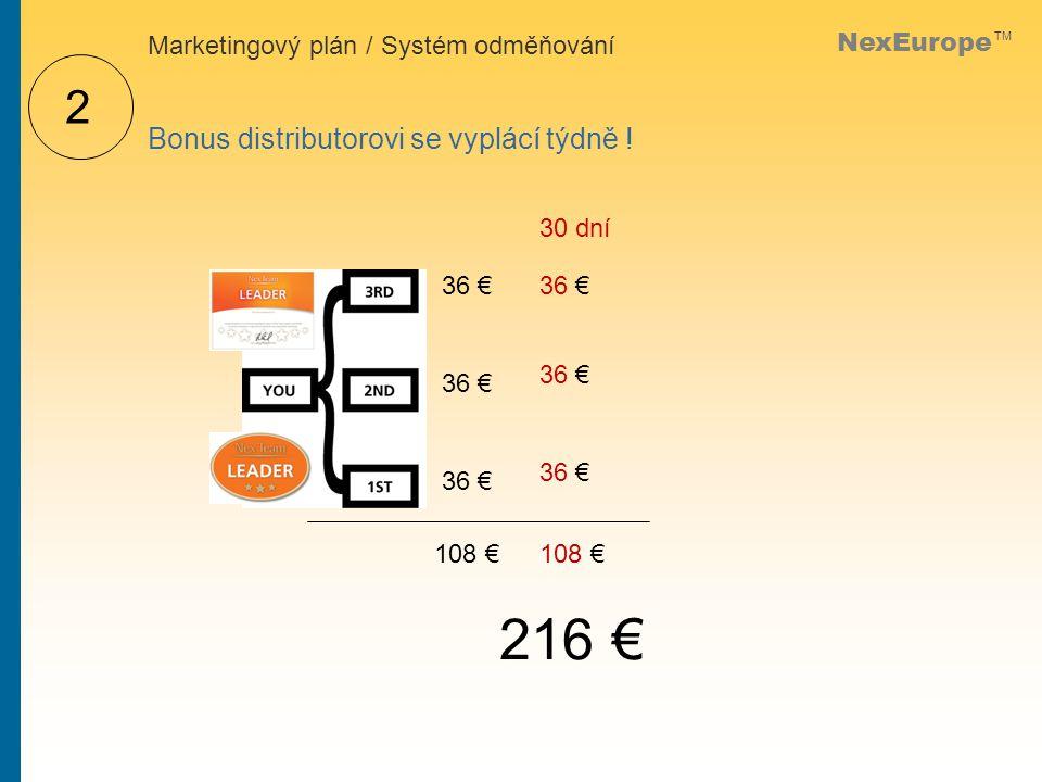 NexEurope TM 2 Bonus distributorovi se vyplácí týdně .