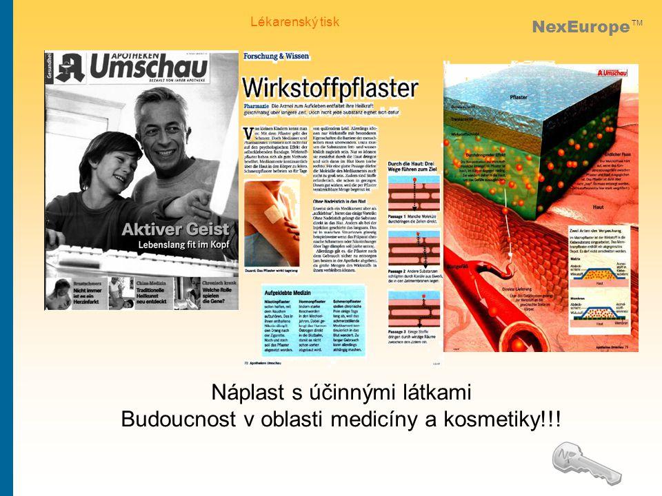 NexEurope TM Lékarenský tisk Náplast s účinnými látkami Budoucnost v oblasti medicíny a kosmetiky!!!