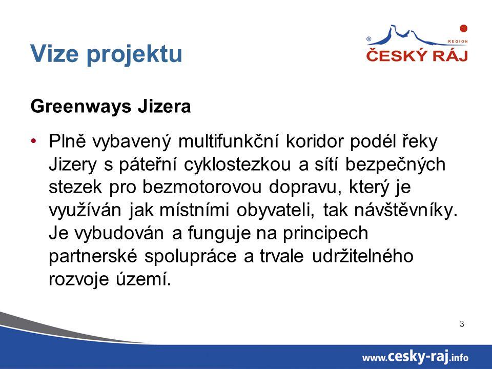 3 Vize projektu Greenways Jizera Plně vybavený multifunkční koridor podél řeky Jizery s páteřní cyklostezkou a sítí bezpečných stezek pro bezmotorovou dopravu, který je využíván jak místními obyvateli, tak návštěvníky.