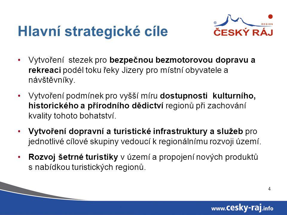 4 Hlavní strategické cíle Vytvoření stezek pro bezpečnou bezmotorovou dopravu a rekreaci podél toku řeky Jizery pro místní obyvatele a návštěvníky.